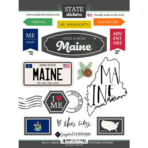 Scrapbook Customs - Postage Map Collection - Cardstock Stickers - Maine