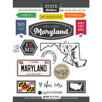Scrapbook Customs - Postage Map Collection - Cardstock Stickers - Maryland