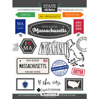 Scrapbook Customs - Postage Map Collection - Cardstock Stickers - Massachusetts