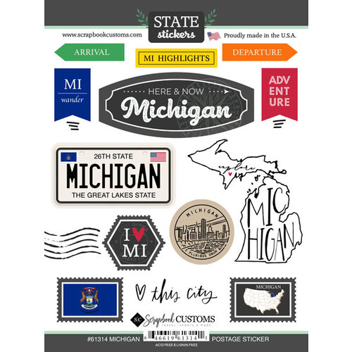 Scrapbook Customs - Postage Map Collection - Cardstock Stickers - Michigan