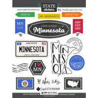 Scrapbook Customs - Postage Map Collection - Cardstock Stickers - Minnesota