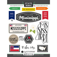 Scrapbook Customs - Postage Map Collection - Cardstock Stickers - Mississippi