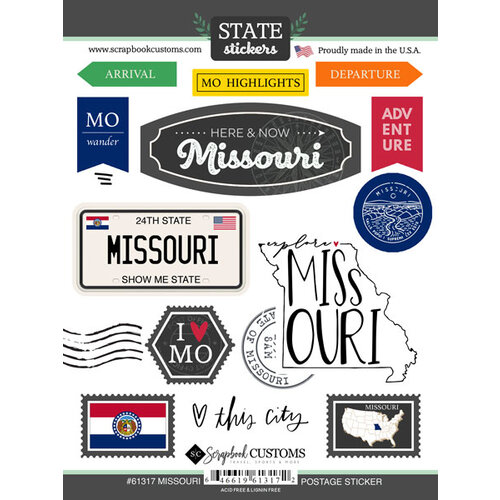 Scrapbook Customs - Postage Map Collection - Cardstock Stickers - Missouri