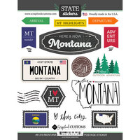 Scrapbook Customs - Postage Map Collection - Cardstock Stickers - Montana