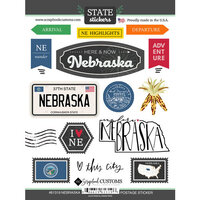 Scrapbook Customs - Postage Map Collection - Cardstock Stickers - Nebraska