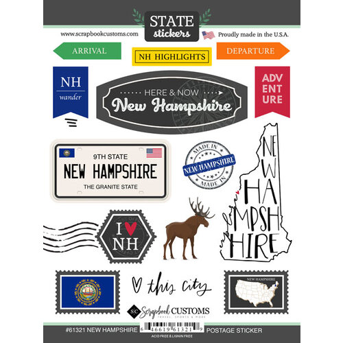 Scrapbook Customs - Postage Map Collection - Cardstock Stickers - New Hampshire