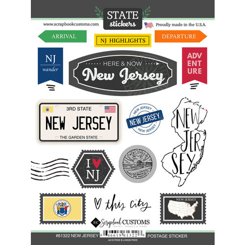 Scrapbook Customs - Postage Map Collection - Cardstock Stickers - New Jersey