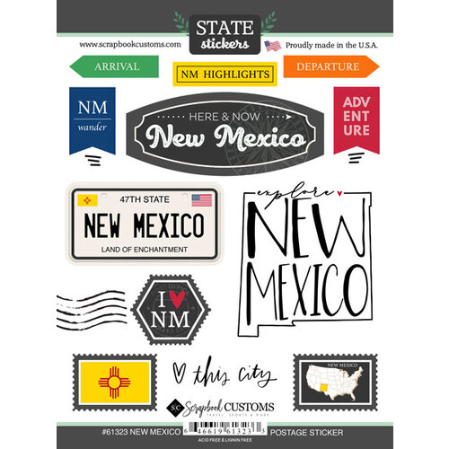 Scrapbook Customs - Postage Map Collection - Cardstock Stickers - New Mexico