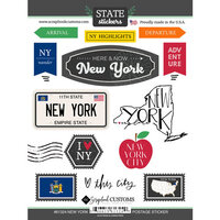 Scrapbook Customs - Postage Map Collection - Cardstock Stickers - New York
