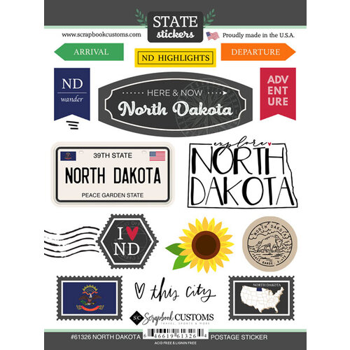 Scrapbook Customs - Postage Map Collection - Cardstock Stickers - North Dakota