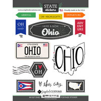 Scrapbook Customs - Postage Map Collection - Cardstock Stickers - Ohio
