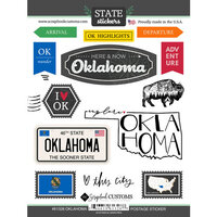 Scrapbook Customs - Postage Map Collection - Cardstock Stickers - Oklahoma