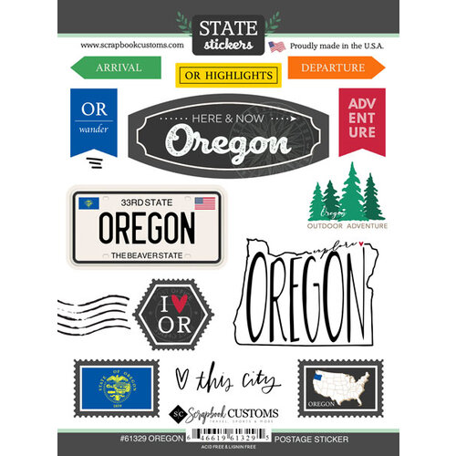 Scrapbook Customs - Postage Map Collection - Cardstock Stickers - Oregon