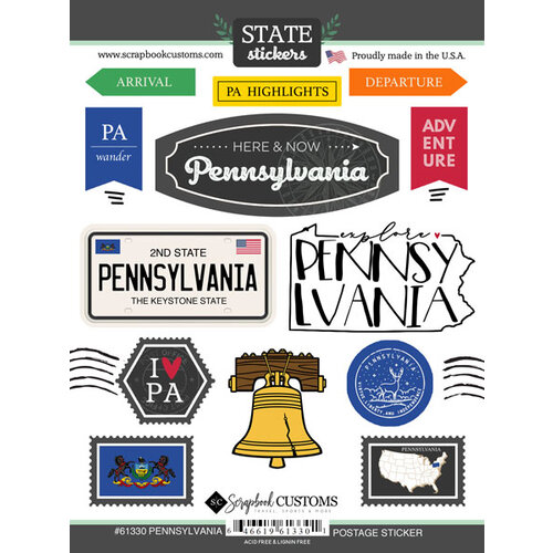 Scrapbook Customs - Postage Map Collection - Cardstock Stickers - Pennsylvania