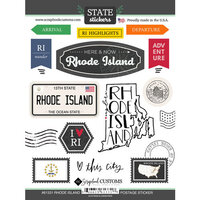 Scrapbook Customs - Postage Map Collection - Cardstock Stickers - Rhode Island