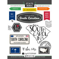 Scrapbook Customs - Postage Map Collection - Cardstock Stickers - South Carolina