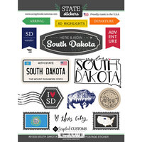 Scrapbook Customs - Postage Map Collection - Cardstock Stickers - South Dakota