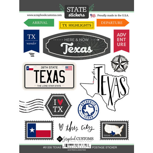 Scrapbook Customs - Postage Map Collection - Cardstock Stickers - Texas