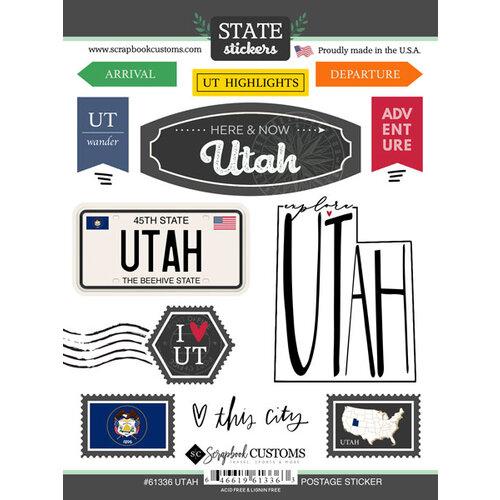 Scrapbook Customs - Postage Map Collection - Cardstock Stickers - Utah