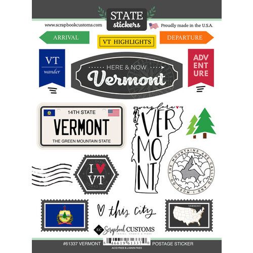 Scrapbook Customs - Postage Map Collection - Cardstock Stickers - Vermont