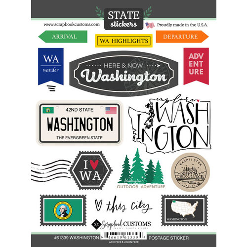 Scrapbook Customs - Postage Map Collection - Cardstock Stickers - Washington