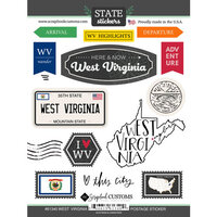 Scrapbook Customs - Postage Map Collection - Cardstock Stickers - West Virginia