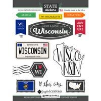 Scrapbook Customs - Postage Map Collection - Cardstock Stickers - Wisconsin