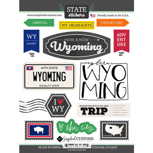 Scrapbook Customs - Postage Map Collection - Cardstock Stickers - Wyoming
