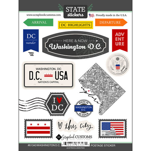 Scrapbook Customs - Postage Map Collection - Cardstock Stickers - Washington DC