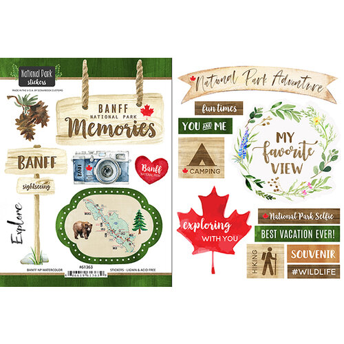 Scrapbook Customs - Canadian National Park Watercolor Collection - Cardstock Stickers - Banff National Park Watercolor Canada