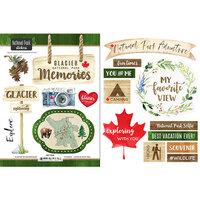 Scrapbook Customs - Canadian National Park Watercolor Collection - Cardstock Stickers - Glacier National Park Watercolor Canada