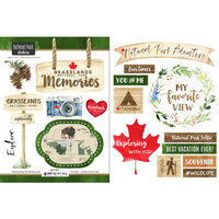 Scrapbook Customs - Canadian National Park Watercolor Collection - Cardstock Stickers - Grasslands National Park Watercolor Canada