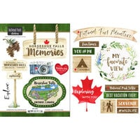 Scrapbook Customs - Canadian National Park Watercolor Collection - Cardstock Stickers - Horseshoe Falls Niagara Falls Watercolor Canada