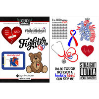 Scrapbook Customs - Heart Warrior Collection - Cardstock Stickers - ASD