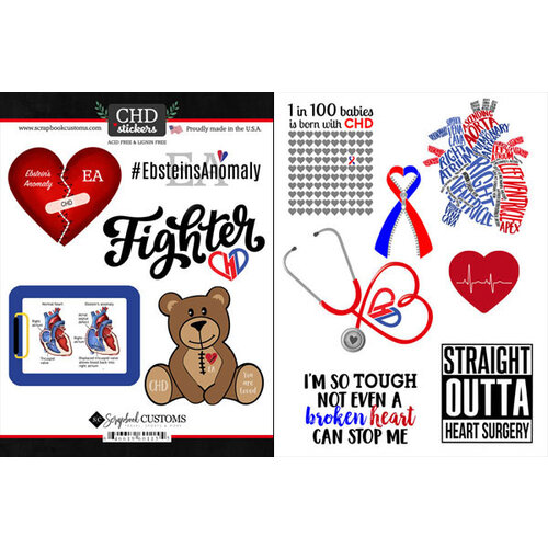 Scrapbook Customs - Heart Warrior Collection - Cardstock Stickers - Ebstein's Anomaly