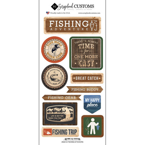 Scrapbook Customs - Life Is Better Collection - Cardstock Stickers - Fishing