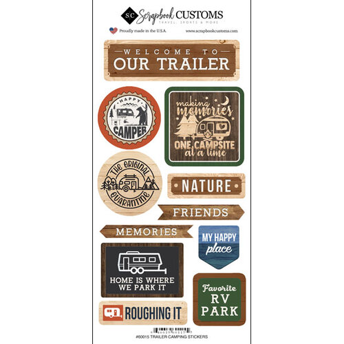 Scrapbook Customs - Life Is Better Collection - Cardstock Stickers - Trailer Camping