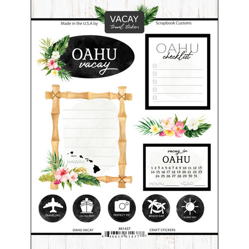 Scrapbook Customs - Vacay Collection - Cardstock Stickers - Oahu