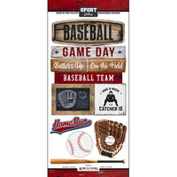Scrapbook Customs - Cardstock Stickers - Baseball Wood