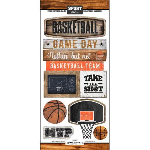 Scrapbook Customs - Cardstock Stickers - Basketball Wood