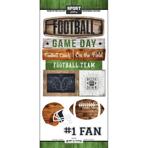 Scrapbook Customs - Cardstock Stickers - Football Wood