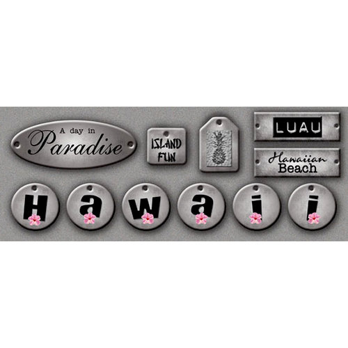 Scrapbook Customs - United States Collection - Hawaii - Cardstock Stickers - Metallic Tags