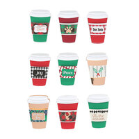 Fun Stampers Journey - Christmas - Chipboard Stickers - Christmas Cheer Coffee Cup