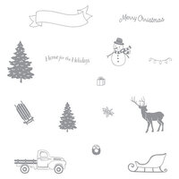Fun Stampers Journey - Christmas - Cling Rubber Stamps - Winter Build-A-Scene