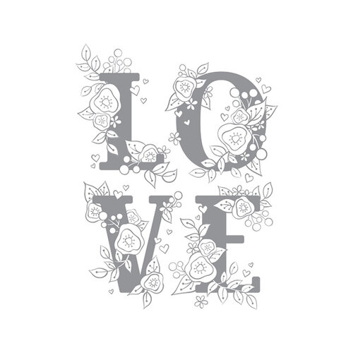 Fun Stampers Journey - Unmounted Cling Rubber Stamps - Love Block