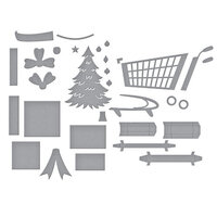 Spellbinders - Add To Cart Collection - Dies - Christmas - 3D Shopping Cart and Shopping Cart Holiday and Presents Bundle