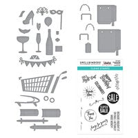 Spellbinders - Add To Cart Collection - Clear Photopolymer Stamps and Dies - Shopping Bag Sentiments, 3D Shopping Cart, Shopping Bags and Shopping Cart Party On! Bundle