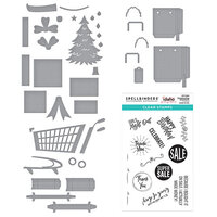Spellbinders - Add To Cart Collection - Clear Photopolymer Stamps and Dies - Christmas - Shopping Bag Sentiments, 3D Shopping Cart, Shopping Bags and Shopping Cart Holiday and Presents Bundle