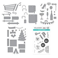 Spellbinders - Add To Cart Collection - Clear Photopolymer Stamps and Dies - Christmas - 3D Shopping Cart, Shopping Bags, Shopping Cart Party On!, Shopping Cart Holiday and Presents and Shopping Bag Sentiments - Complete Bundle
