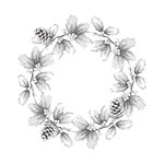 Spellbinders - Holiday Collection - Christmas - 3D Shading Cling Stamps - Wreath